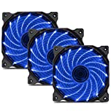 uphere 3-Pack Long Life Computer Case Fan 120mm Cooling Case Fan for Computer Cases Cooling 15LED Blue,15B3-3