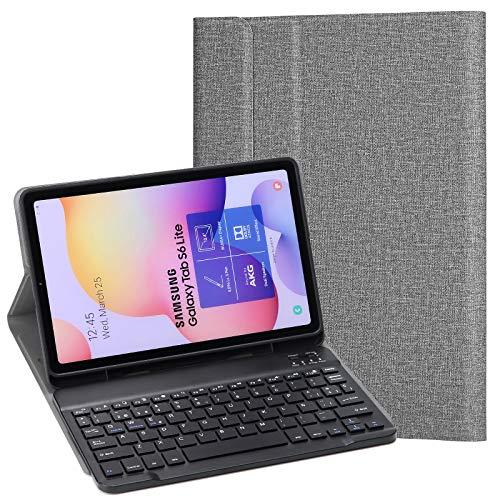 KILISON Samsung Galaxy Tab S6 Lite Étui espagnol Clavier [Design espagnol Ñ], [Emplacement pour S Pen] sans fil Bluetooth Clavier Cover pour Samsung Galaxy Tab S6 Lite 10.4 P610/ P615 2020, Gris