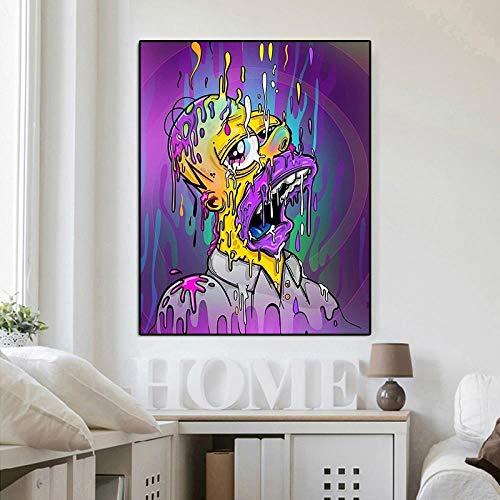 Lienzo Arte Póster Famousist Lisa Simpson Color Ha Ha Mouth Poster Impresiones En Cuadros De Pared Para El Dormitorio De Los Niños Sin Marco 20x30 Pulgadas