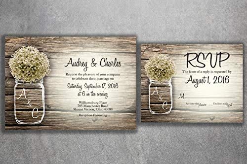 Country MASON JAR Baby's Breath Flowers Rustic Wedding Invitation Set Printed, Cheap Wedding Invitations, Unique, Custom Invitations, Affordable