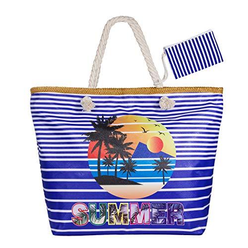 WolinTek Große Wasserdicht Strandtasche mit Reißverschluss und Innentasche Sommer TascheVerschluss Damen Shopper Tasche Schultertasche Badetasche Beach Bag Umhängetasche für Mädchen (Style 9)