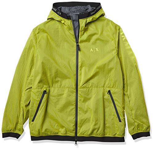 A|X Armani Exchange - Chaqueta con capucha y cremallera para hombre con logotipo reflectante - Amarillo - X-Large