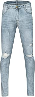 Men's Elastic Ripped Skinny Pencil Denim Jeans Straight Stretch Pure Color Pants Slim Fit Regular Classic Trousers Casual And Relax Outdoor Bottoms
