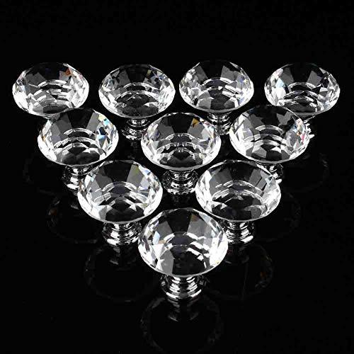 Juego de 10 pomos de cristal de 30 mm con forma de diamante para armarios y cajones