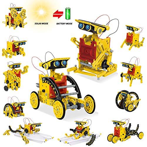 HOMOFY Roboter Kinder Solarroboter Kit 12 in-1-Sets Wissenschaft Lernwissenschaftliches Bauspielzeug von Solar DIY konstruktionsspielzeug Robot Wissenschaft Kits für 8 9 10 11 12-jährige Kinder