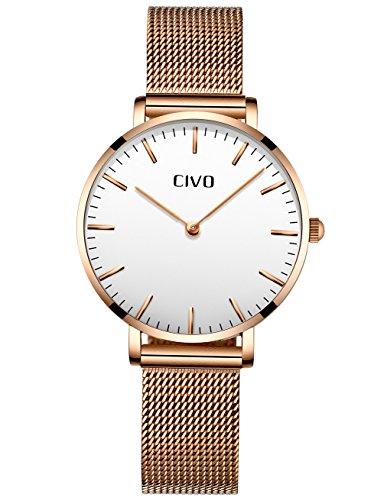 CIVO Relojes Mujer Ultra Fino Silm Minimalista Reloj de Señoras Impermeable Moda Vestir Elegante Relojes de Pulsera Casual Acero Inoxidable Malla Reloj de Cuarzo para Mujeres (Blanco)