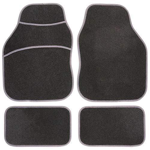Safe Travel 27601 Tapis de sol universels pour véhicules à conduite à gauche, Tapis à talon, Coutures de couleur Grise