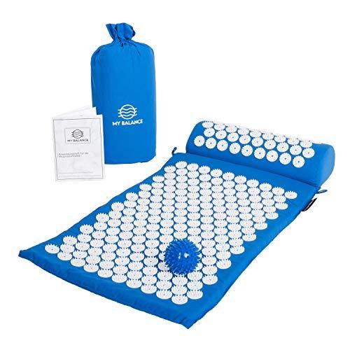 My Balance® Akupressurmatte-Set mit Kissen + GRATIS Anwendungsheft 24seitig   Waschbare Massage-Matte ideal verwendbar als Shiatsu-Matte oder für Shakti-Yoga   Kann Nacken- & Rückenschmerzen lindern