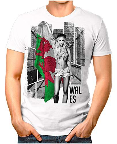 OM3® - Wales-Soccer-Girl - Herren T-Shirt EM 2020 Fußball Trikot Sexy Frau Great Britain Vintage Weiß S