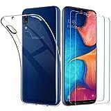 ILUXUS Kompatibel für Samsung Galaxy A20e Hülle & Panzerglas Set, [1 Handyhülle + 2 Panzerglas], Dünne klare weiche TPU Schutzhülle & Schutzfolie Glas 9H, Entwickelt für Samsung Galaxy A20e