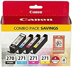 Canon PGI-270/CLI-271 Photo Paper Combo Pack Compatible to MG6820, MG6821, MG6822, MG5720, MG5721, MG5722, MG7720, TS5020,...