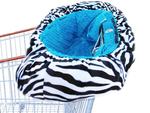 Why Should You Buy Patricia Ann Designs Minky Dot Shopping Cart Cover, Zebra with Turquoise