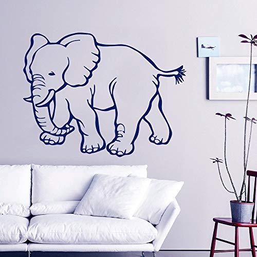 YuanMinglu Kleines Muster zu Fuß Elefant Wandtattoos Startseite Wohnzimmer besonderen Stil dekorative Wandaufkleber Tapete blau 57x78cm