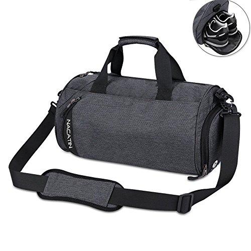 NACATIN modische Sporttasche mit Schuhfach, 25L Handgepäck Tasche 50×24×24cm,Hochwertige Gym Tasche für Männer, Frauen und Kinder (Dunkelgrau)