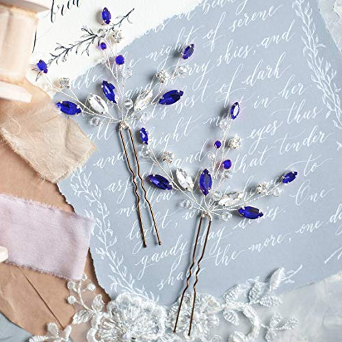 Kercisbeauty (Set of 2) Handmade Bridal Bridesmaids Flower Girl Pink Champagne Rose Gold Pearl Beads Hair Pins Headpiece for Wedding and Party (Silver) (Blue)