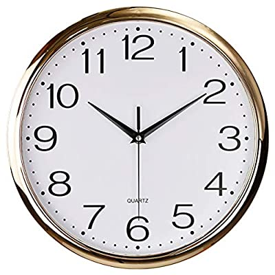 Foxtop Decorative Wall Clock, Silent Non-Ticking Quartz Battery Operated Wall Clock for Living Room Bedroom Home Office School 11.5 inch (Light Rose Gold Plastic Frame, Glass Cover, Arabic Numeral)