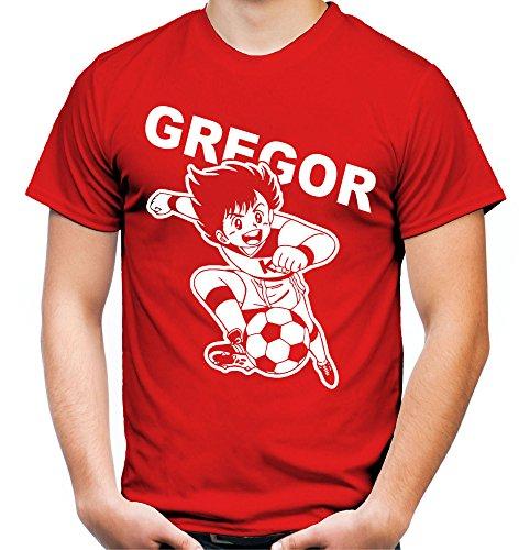 Gregor Männer und Herren T-Shirt | Kickers Fussball Comic 90er Kult (XL, Rot)