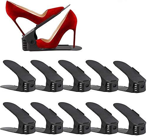 UrMsun Set de 10pcs de Organizadores Ajustables de Zapatos con Ranuras Soportes de Calzado Apilador para Zapatos Ahorro de Espacio (Negro)