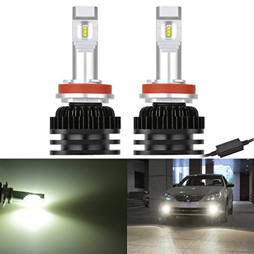 NATGIC H8 H9 H11 H16 (JP) Ampoules antibrouillard à LED Puces CSP haute luminosité pour la conduite Kit de lampes pour feux de jour 6000K et 2000LM / Ampoule au xénon blanc (pack de 2)