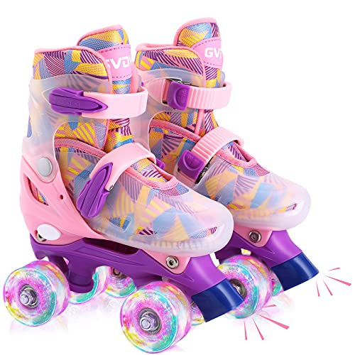 GVDV Roller Skates for Girls - Adjustable Size Double Roller Skates, with 8 Wheels Light Up, Full Protection for Children's Indoor and Outdoor Play, Pink (Medium(11.5C - 2Y))