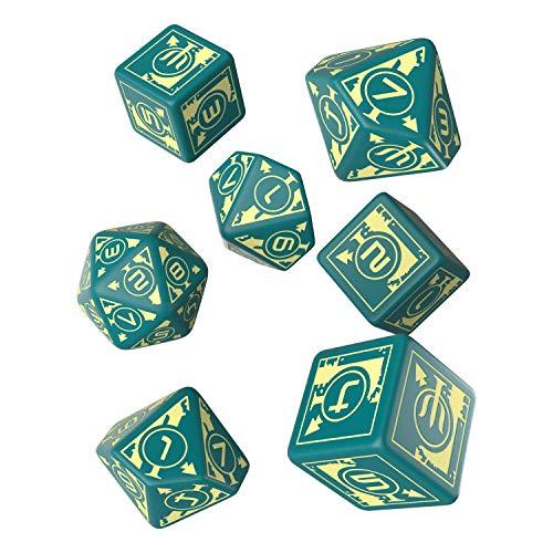 Q WORKSHOP Polaris RPG Turquoise & Light Yellow Dice Set 7 Polyhedral Pieces 3D6 + 3D10 + D20