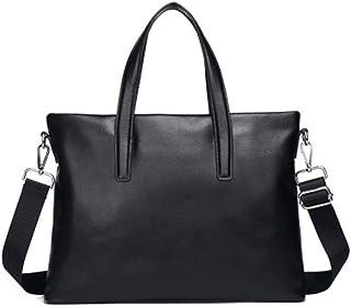 Mens Messenger Bag PU Leather Work Satchel Handbag Black Laptop Bag Office Briefcase (Color : Black, Size : Free Size)