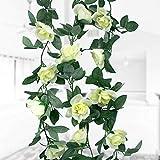 Natuce 16 Artificiale di Rose(1PCS), 2.3M Fiore Artificiale Rosa Ghirlanda Vite con Foglie Verdi, Fiori di Rosa Finti, Rampicanti per casa, Matrimoni, Giardini, Feste di Compleanno (Bianco)