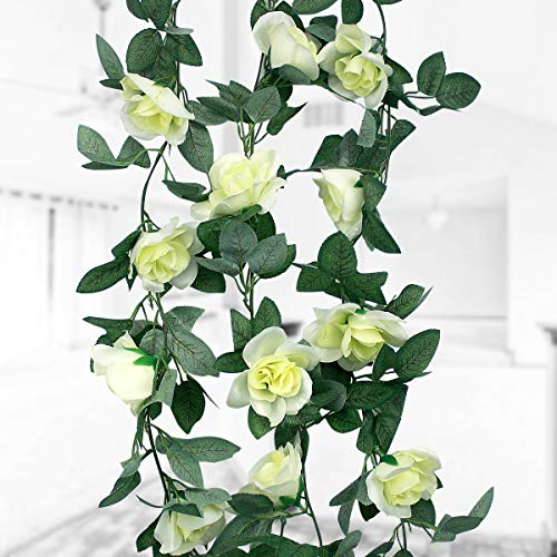 Natuce 16 Silk Roses(1Pack), 2.3M Artificial Flower, Fake Rose Vine Flowers Plants Garland, Vine with Green Leaves For Home Wedding Decor Garden Party Wall Decoration (White Rose)