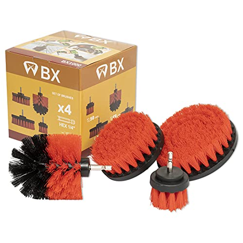 Powered Drill Cleaning Brushes 4 Piece Set Replace Manual Work for Rust Removal,Descaling,Degreasing,BBQ,Kitchen,Tile,Fireplace, Carpet,Wheel Hub Powerful Clean