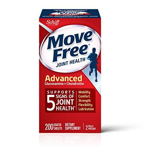 Move Free Suplemento avanzado para la salud de las articulaciones, glucosamina y condroitina (200 recuentos en una botella), admite movilidad, flexibilidad, fuerza, lubricación y comodidad