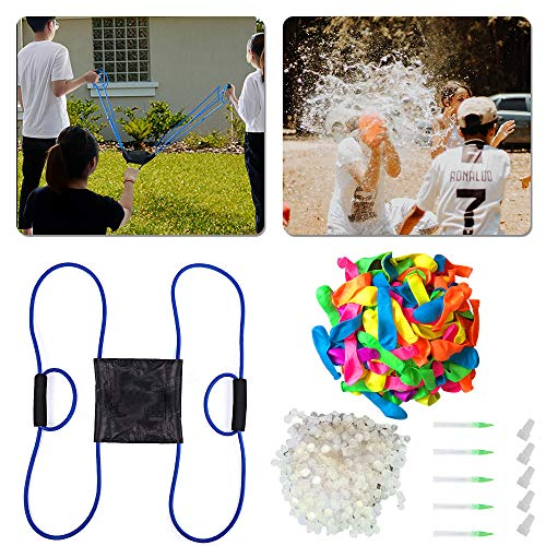 ATROPOS Water Balloon Launcher,Water Balloon Slingshot 500 Yard,Water Bomb Launcher with 1000 Pcs Water Balloons and 5 Refill Kits for Kids and Adults Outdoor Water Bomb Fight Games
