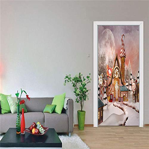 XLXYD Deursticker, afbeeldingen, creatieve abstracte hal, deurposter, binnendeur, zelfklevend, deurfolie, 3D-decoratie, deursticker, deurfoto, deurbehang, patroonbehang, groen, gras en trap, 77 x 200 cm A7.