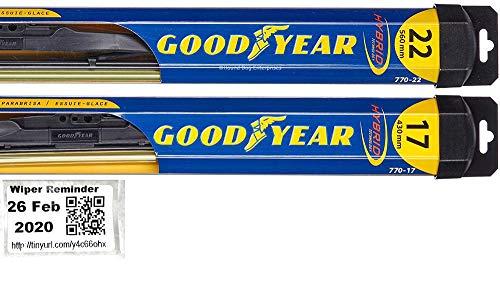 Hybrid - Windshield Wiper Blade Set/Kit/Bundle for 2005-2010 Chevrolet Cobalt - Driver & Passenger Blades & Reminder Sticker