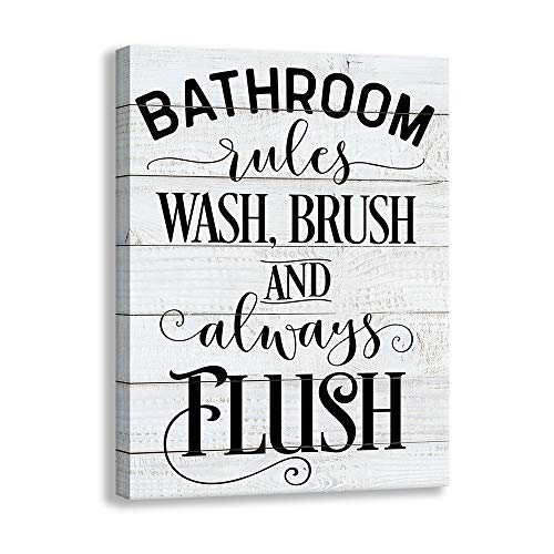 Shang pin Vintage Bathroom Canvas Wall Art Sign | Woodgrain Background Printed Bathroom Rules Plaque Frame Family Bathroom Laundry Wall Decoration Plaque (12 X 15 inch, Bathroom)
