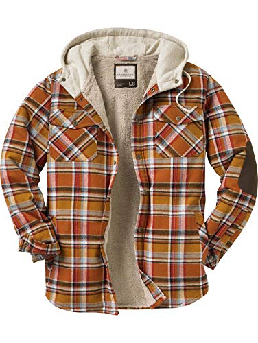 Legendary Whitetails Camp Night Hooded Flannel Arrowood Brown Plaid Large