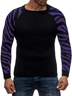 SPE969 Men's Crew-Neck Camouflage Sweater,Autumn Winter Pullover Knitted Patchwork Drape O-Neck Sweater Blouse Top