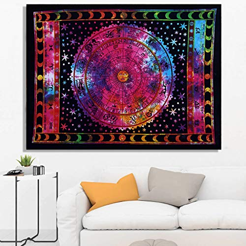 THE ART BOX Rainbow Zodiac Posters Wall Hanging Horoscope Tapestry Dorm Room Tapestries Hippie Tapestry Indian Astrology Trippy Celtic Psychedelic Tapestry Wall Hanging Space Rashi Tapestry