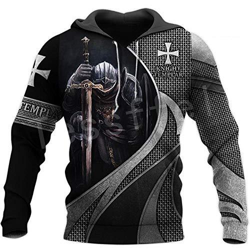 MNZJGAL 3D Impreso Knight Armor Hombres Vikingo Sudadera con Capucha Caballeros Templarios Harajuku Chaqueta De Moda PulóVer Unisex Cosplay Sudaderas con Capucha-A02_L