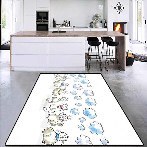 Bath Mat 3D Digital Printing Mat, Cats Sitting with Collars, Living Dinning Room & Bedroom Rugs 4'x6'