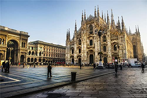 N\A Adult Jigsaw Puzzles 1000 Pieces Italy Cathedral Piazza del Duomo Milan Cathedraladult Puzzles