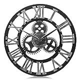 Lafocuse 58cm Orologio da Parete Grande Industriale ingranaggio Argento Orologio al Quarzo Creativo Numeri Romani per Bar Soggiorno Ristorante