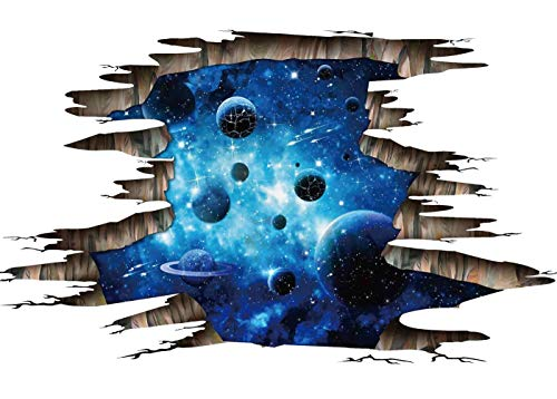 3D Blue Galaxy Wall Stickers- Universe Scene with Planets Stars Starry Sky- Removable Wall Mural Decals for Kids Bedroom Ceiling Living Room Nursery