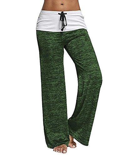 Mujer Casual Suelto Pantalones Anchos de Pierna Largo Cintura Media Pantalón Suave Yoga Fitness Deportivos Verde EU Small