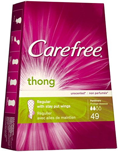 Carefree Thong Pantiliners, Unscented, 49 ct