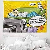 ABAKUHAUS Jahrgang Wandteppich & Tagesdecke, Mann TV Katze Comic-Buch, aus Weiches Mikrofaser Stoff Moderner Digitaldruck Waschbar, 150 x 110 cm, Mehrfarbig