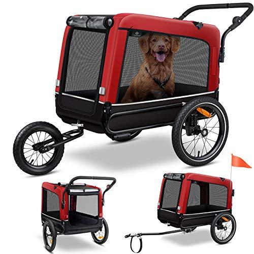 KESSER® Boxer 3-in-1 Hundeanhänger, Hundebuggy & Jogger Fahrradanhänger groß ca. 240 Liter Volumen, gefedert, Material: 600D Oxford Canvas, SmartSpace Concept, maximale Belastbarkeit: 40 kg, Rot