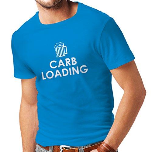 lepni.me T-Shirt pour Hommes Chargement de Glucides Entraînement Physique, Levage de Poids, Humour Sarcastique (Medium Bleu Blanc)