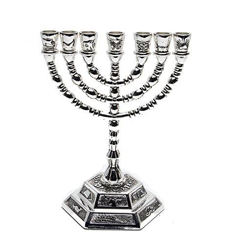 Grande Menorah Argento Placcato da Terra Santa Gerusalemme 19cm Altezza x 15cm Larghezza