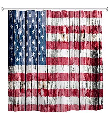 A.Monamour Duschvorhang Amerikanische Flagge Uns Flagge Gemalt Auf Vintage Rustikalen Holzbohlen Holz Textur Hintergr& Wasserdicht Polyester Duschvorhang Für Bad Badewanne Zubehör 150x180cm
