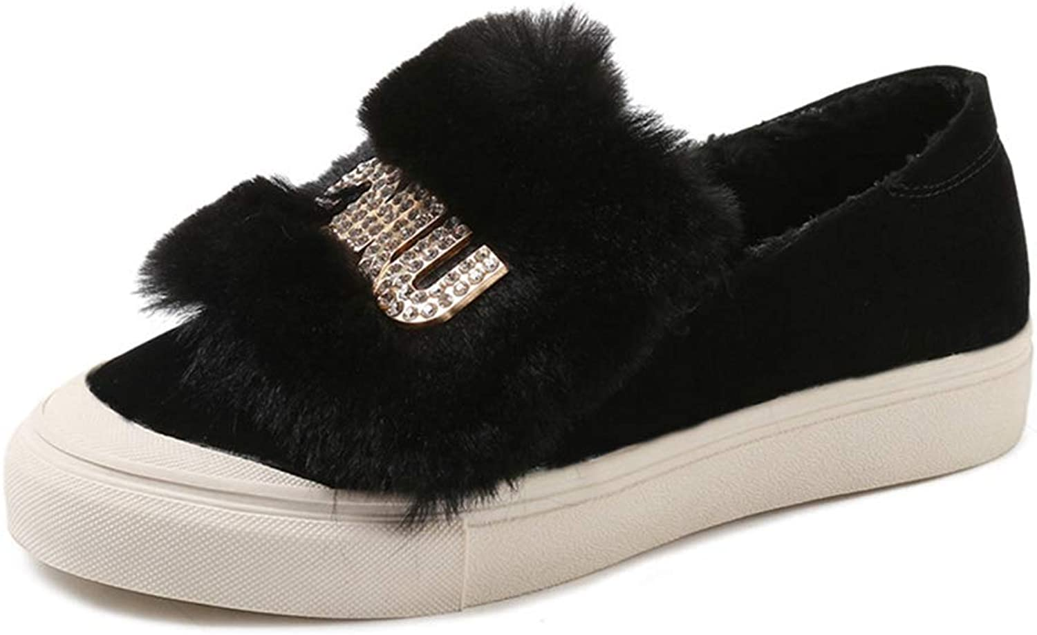 August Jim Flats shoes for Women Winter,Slip-on Round Toe Warm Fur Flats Loafers